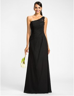 Dress Mini Me Sheath Column Sexy One Shoulder Long Floor Length Chiffon With Appliques Beading Side Draping