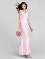 Long Floor Length Chiffon Bridesmaid Dress Mini Me Sheath Column V Neck Plus Size Petite With Criss Cross