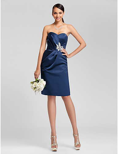 Short Knee Length Satin Bridesmaid Dress Sheath Column Strapless Sweetheart Plus Size Petite WithBeading Sash Ribbon