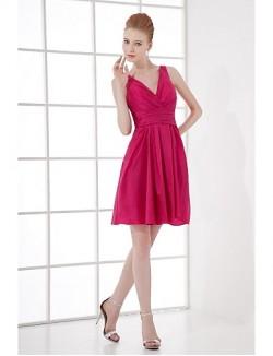 Short Mini Taffeta Bridesmaid Dress A Line V Neck With Side Draping