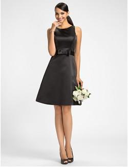 Dress A Line Jewel Short Knee Length Satin With Bow Sash Ribbon