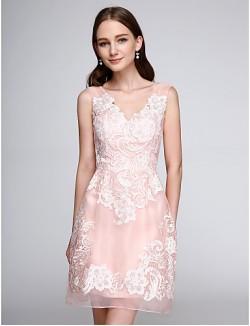 Short Mini Organza Bridesmaid Dress Floral Sheath Column V Neck With Appliques