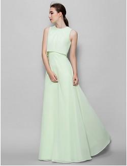 Long Floor Length Chiffon Bridesmaid Dress A Line Jewel With