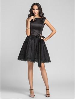 Short Knee Length Lace Satin Bridesmaid Dress A Line Princess Bateau Plus Size Petite With Draping Lace
