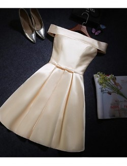 Short Knee Length Satin Bridesmaid Dress A Line Off The Shoulder With Bow