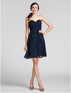 Short Knee Length Chiffon Bridesmaid Dress Sheath Column Sweetheart Plus Size Petite With Draping Criss Cross