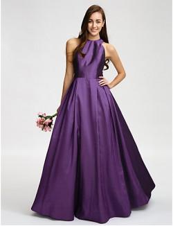 Long Floor Length Taffeta Bridesmaid Dress A Line Jewel With Sash Ribbon