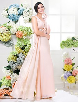 Long Floor Length Chiffon Bridesmaid Dress Sheath Column V Neck Plus Size Petite With Lace Sash Ribbon Criss Cross