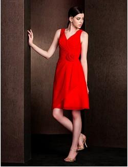 Short Knee Length Chiffon Bridesmaid Dress A Line V Neck Plus Size Petite With Flower Criss Cross