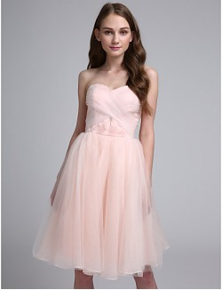 Short Knee Length Organza Bridesmaid Dress Ball Gown Sweetheart With Criss Cross