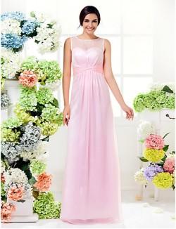 Long Floor Length Chiffon Bridesmaid Dress Sheath Column Jewel Plus Size Petite With Criss Cross
