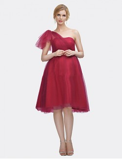 Short Knee Length Satin Tulle Bridesmaid Dress A Line Sexy One Shoulder With Draping