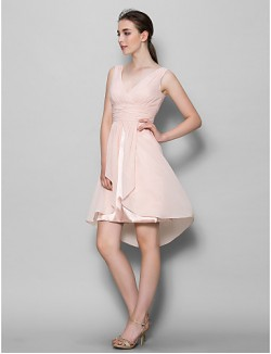 A Line Mother Of The Bride Dress Short Knee Length Sleeveless Chiffon With Criss Cross