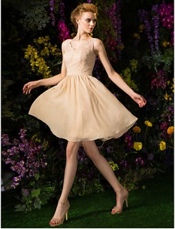 Short Knee Length Chiffon Lace Bridesmaid Dress Mini Me A Line V Neck Plus Size Petite With Lace Sash Ribbon