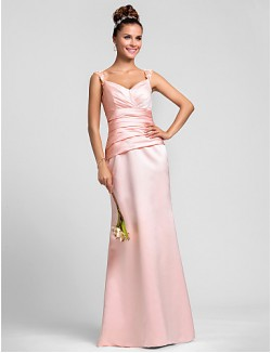 New Zealand Formal Evening Dress Wedding Party Dresses Military Ball Dress Sheath Column Straps Long Floor Length Satin With Appliques Beading Side Draping