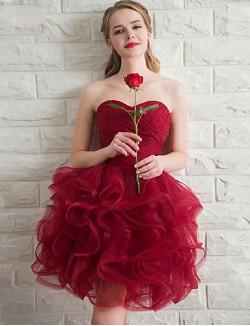Short Mini Organza Bridesmaid Dress Ball Gown Sweetheart With Cascading Ruffles