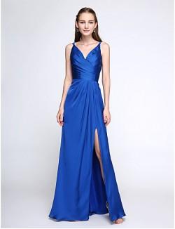 Long Floor Length Satin Chiffon Bridesmaid Dress Elegant Sheath Column V Neck With Criss Cross