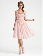 A Line Strapless Short Knee Length Chiffon Bridesmaid Dress With Flower