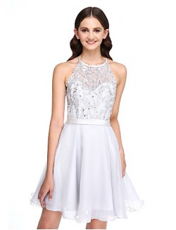 Short Mini Lace Organza Bridesmaid Dress Elegant A Line Jewel With Appliques Beading