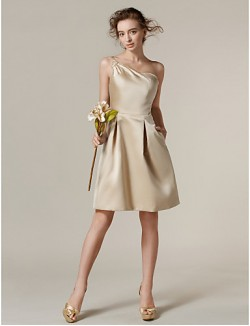Short Knee Length Satin Bridesmaid Dress A Line Sexy One Shoulder Plus Size Petite With Pockets Side Draping
