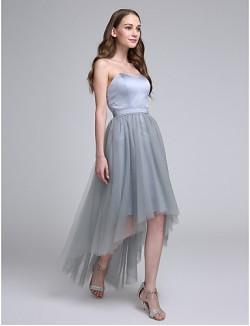 Asymmetrical Satin Tulle Bridesmaid Dress A Line Sweetheart With Sash Ribbon