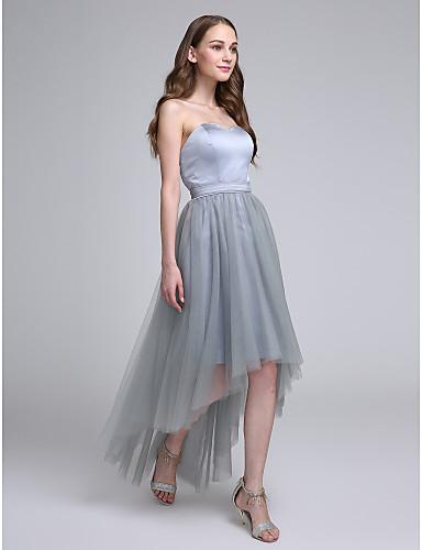2017 Asymmetrical Satin Tulle Bridesmaid Dress A Line Sweetheart With Sash Ribbon
