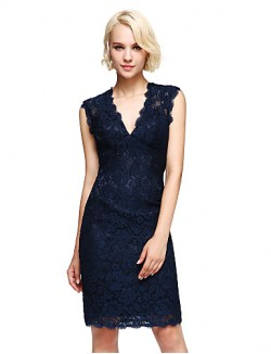 Short Knee Length Lace Bridesmaid Dress Elegant Sheath Column V Neck With Lace