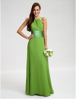 Long Floor Length Chiffon Bridesmaid Dress Sheath Column Straps With Sash Ribbon Ruching