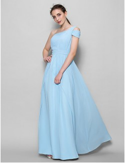 Long Floor Length Georgette Bridesmaid Dress A Line Sexy One Shoulder With Side Draping