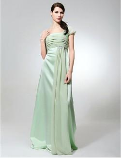 Long Floor Length Chiffon Satin Bridesmaid Dress Sheath Column Square Plus Size Petite With Beading Ruching