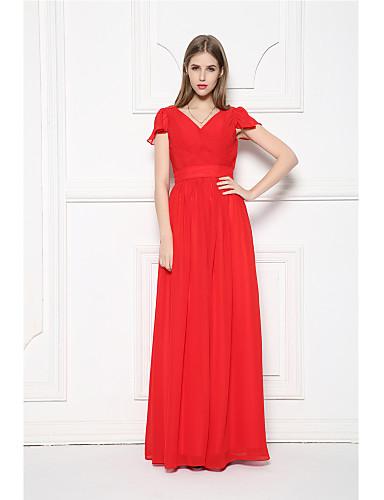Long Floor Length Chiffon Bridesmaid Dress A Line V Neck With Ruffles Sash Ribbon Side Draping