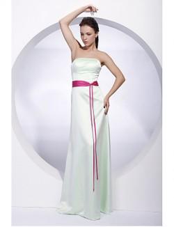 Long Floor Length Satin Bridesmaid Dress Sheath Column Strapless Plus Size Petite With Sash Ribbon