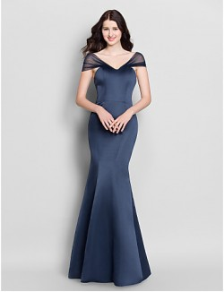 Long Floor Length Satin Bridesmaid Dress Trumpet Mermaid V Neck With
