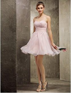 Short Mini Chiffon Bridesmaid Dress A Line Sweetheart Plus Size Petite With Criss Cross Ruching