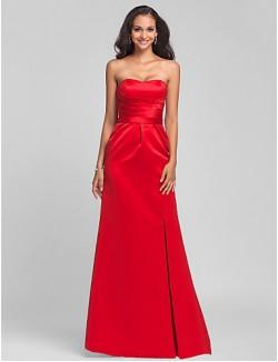 Sweep Brush Train Satin Bridesmaid Dress Lace Up Sheath Column Strapless Sweetheart Plus Size Petite WithSash