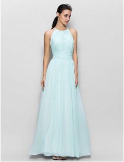 Long Floor Length Chiffon Bridesmaid Dress Sheath Column Jewel With Draping