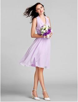 Short Knee Length Chiffon Bridesmaid Dress Sheath Column Halter Plus Size Petite With Draping Ruching