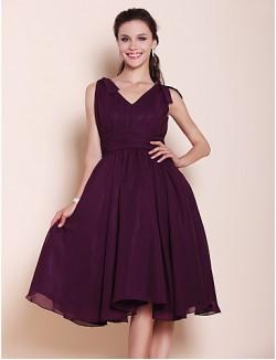 Short Knee Length Chiffon Bridesmaid Dress A Line Princess V Neck Plus Size Petite With Bow Draping Ruching