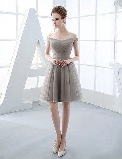 Short Mini Tulle Bridesmaid Dress Ball Gown Off The Shoulder With Side Draping