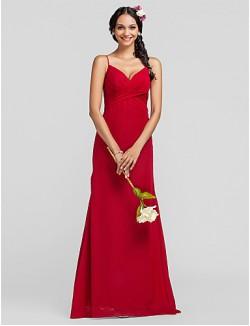 Long Floor Length Chiffon Bridesmaid Dress Sheath Column Spaghetti Straps Plus Size Petite With Criss Cross