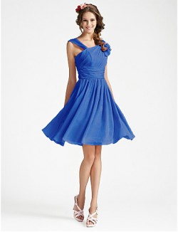 Short Knee Length Georgette Bridesmaid Dress A Line Princess V Neck Plus Size Petite WithDraping Ruffles Side Draping