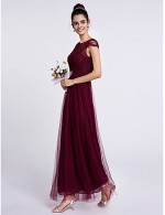 2017 Ankle Length Lace Tulle Bridesmaid Dress Sheath Column Bateau With Lace