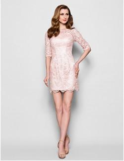 Sheath Column Plus Size Petite Mother Of The Bride Dress Short Mini Half Sleeve Lace With