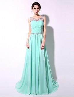 Long Floor Length Chiffon Bridesmaid Dress Sexy Sheath Column Scoop With Crystal Detailing Side Draping