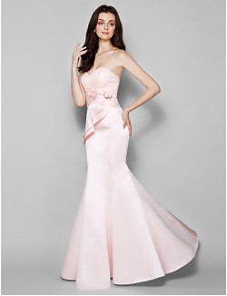 Long Floor Length Lace Dress Satin Bridesmaid Dress Trumpet Mermaid Sweetheart Plus Size Petite With Bow Lace Criss Cross