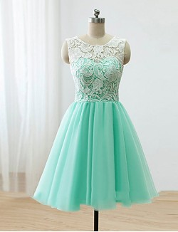 Short Knee Length Lace Satin Tulle Bridesmaid Dress A Line Scoop With Buttons Lace