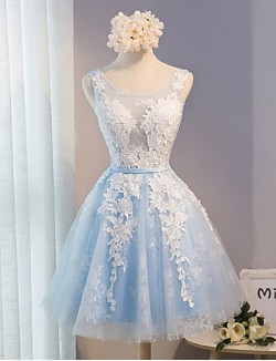 Short Mini Lace Bridesmaid Dress A Line Scoop With Lace Sash Ribbon