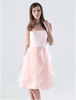 Short Knee Length Organza Satin Bridesmaid Dress A Line Strapless Plus Size Petite With Ruffles Cascading Ruffles