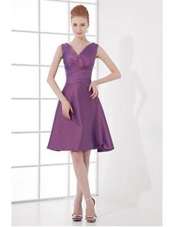Short Knee Length Taffeta Bridesmaid Dress A Line V Neck With Bow Side Draping