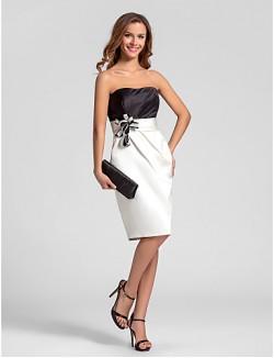 Short Knee Length Satin Bridesmaid Dress Sheath Column Strapless Plus Size Petite With Flower Ruching